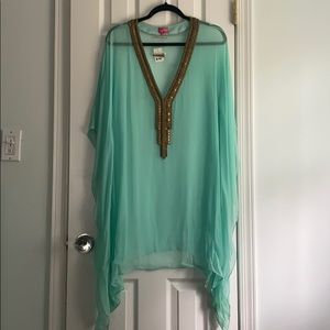 Aqua sheer coverup with gold/bronze beading